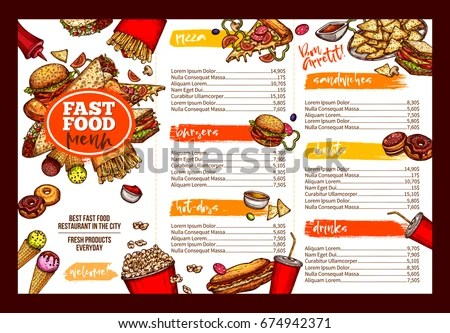 Fast Food Restaurant Menu Template Lunch Stock Vector (Royalty Free