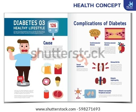 Fat Man Diabetes Diabetic Infographics Elements Stock Vector