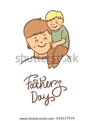 Father Daughter Happy Fathers Day Card Stock Vector (Royalty Free