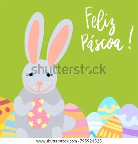 Felic Pascoa Happy Easter Card Template Stock Vector (Royalty Free