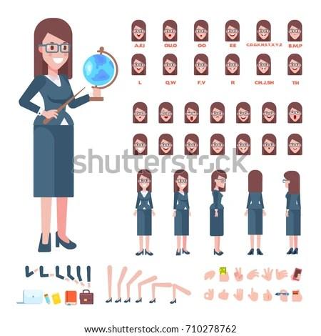 Female School Teacher Globe Front Side Stock Vector (Royalty Free