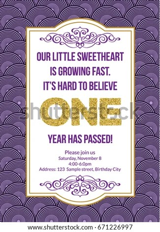 First Birthday Invitation Girl First Birthday Stock Vector (Royalty