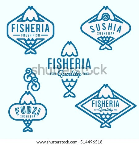 Fishery Logo Templates Signs Fish Store Stock Vector (Royalty Free