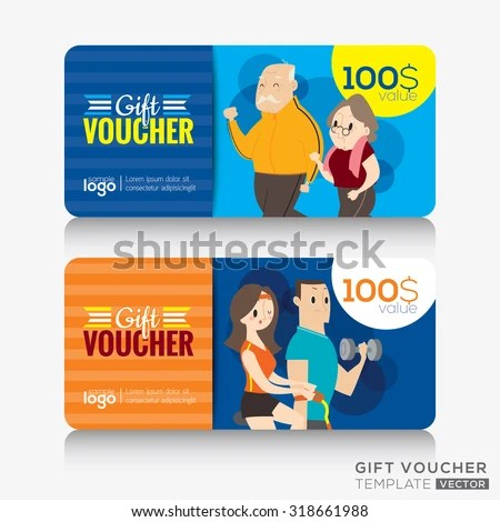 Fitness Center Gym Coupon Voucher Gift Stock Vector (Royalty Free