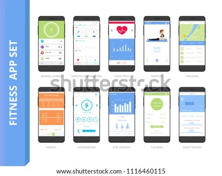 Fitness Tracker App Interface Set Mobile Stock Vector (Royalty Free