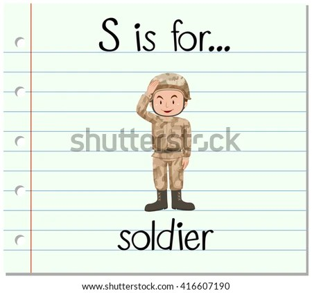 Flashcard Letter S Soldier Illustration Stock Vector (Royalty Free