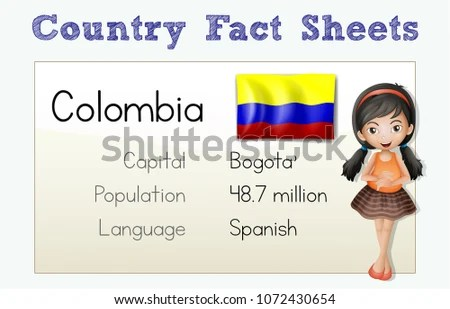 Flashcard Template Country Colombia Illustration Stock Vector