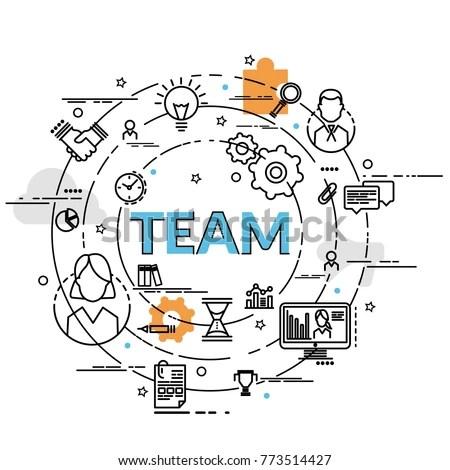 Flat Colorful Design Concept Team Idea Stock Vector (Royalty Free