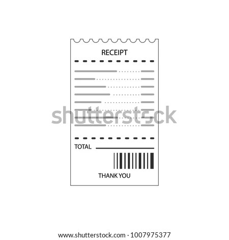 Flat Design Blank Receipt Bill Atm Stock Vector (Royalty Free