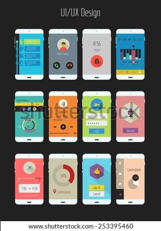 Flat Design UIUX Mobile Application Templates Stock Vector (Royalty
