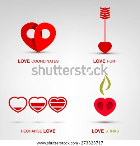 Flat Romantic Love Icons Lovely Templates Stock Vector (Royalty Free