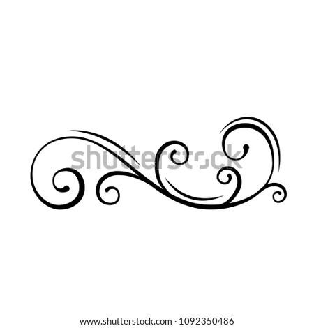 Floral Decorative Swirl Filigree Calligraphic Design Stock Vector