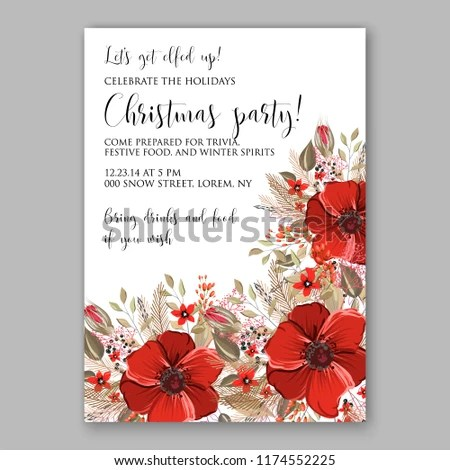 Floral Winter Background Wedding Invitation Christmas Stock Vector