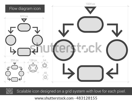 Flow Diagram Vector Line Icon Isolated Stock Vector (Royalty Free
