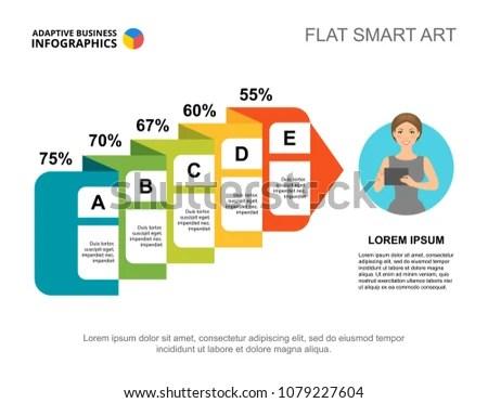Flowchart Percentage Slide Template Chart Design Stock Vector