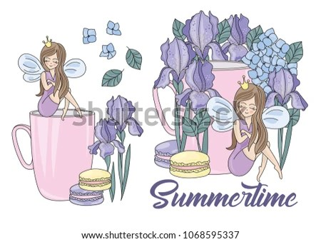 Flower Clipart SUMMERTIME Color Vector Illustration Stock Vector