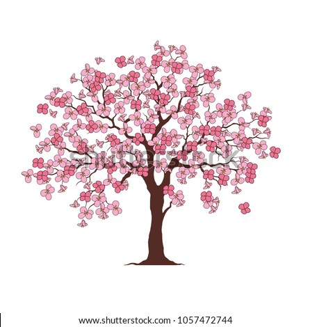 Flower Tree Printable Family Tree Stock Vector (Royalty Free