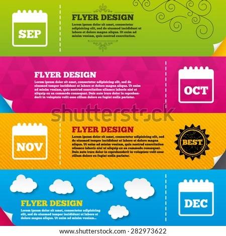 Flyer Brochure Designs Calendar Icons September Stock Vector