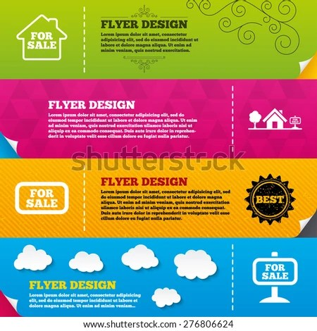 Flyer Brochure Designs Sale Icons Real Stock Vector (Royalty Free