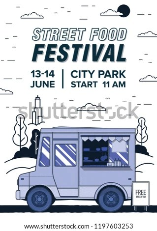 Flyer Poster Template Van Truck Selling Stock Vector (Royalty Free