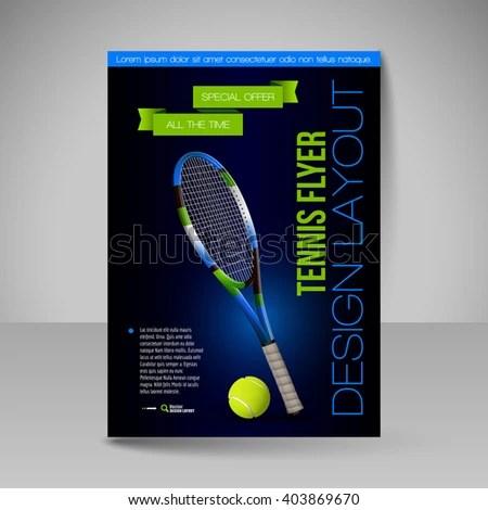 Flyer Template Tennis Symbols Vector Sport Stock Vector (Royalty