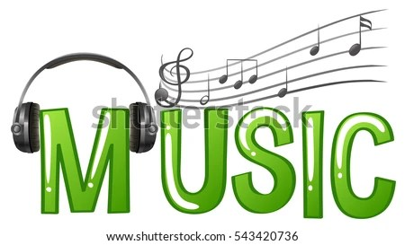 Font Design Word Music Headphone Music Stock Vector (Royalty Free