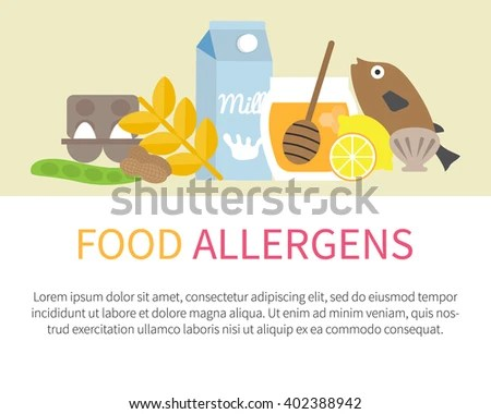 Food Allergens Banner Template List Allergic Stock Vector (Royalty