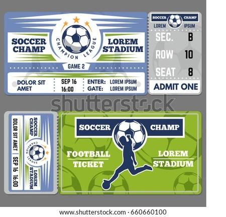 Football Ticket Template Design Coupon Soccer Stock Vector (Royalty