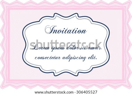 Formal Invitation Template Border Frame Cordial Design Stock Vector