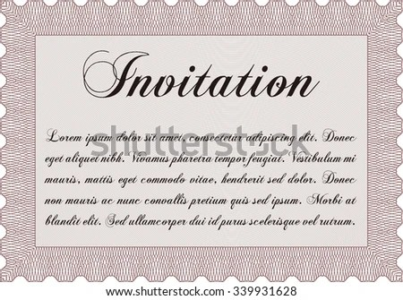 Formal Invitation Template Linear Background Cordial Stock Vector