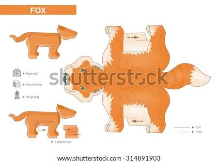 Fox Paper Model Cutouts Children Small Stock Vector (Royalty Free