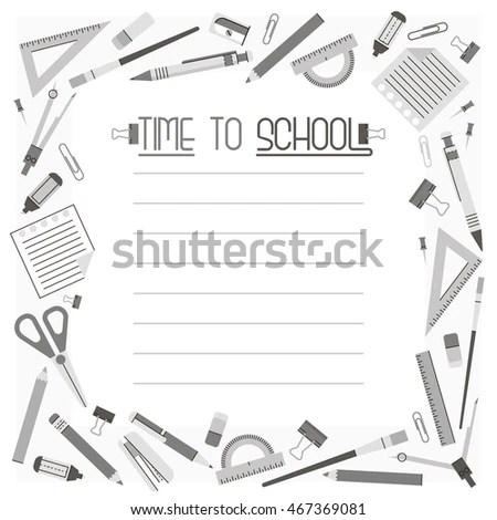 Frame Border Grey School Flat Icons Stock Vector (Royalty Free