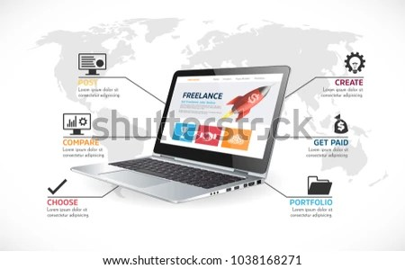 Freelance Online Job System Work Home Stock Vector (Royalty Free