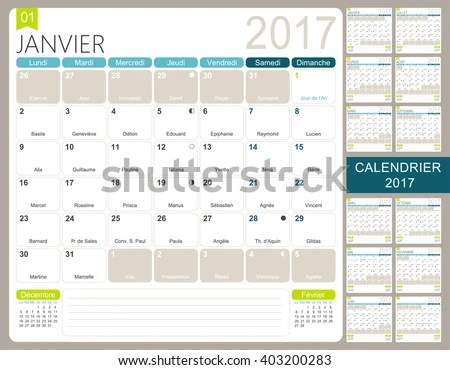 French Printable Monthly Calendar Template Set Stock Vector (Royalty