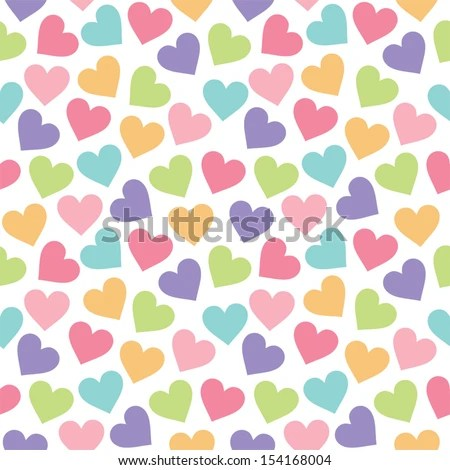 Fun Seamless Vintage Love Heart Background Stock Vector (Royalty