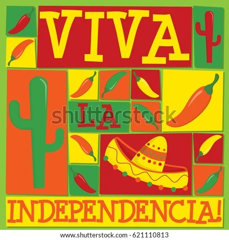 Funky Mexican Independence Card Vector Format Stock Vector (Royalty