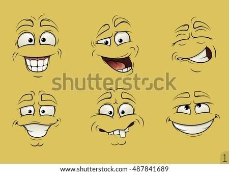 Funny Cartoon Faces Cartoon Emotions Faces Stock Vector (Royalty