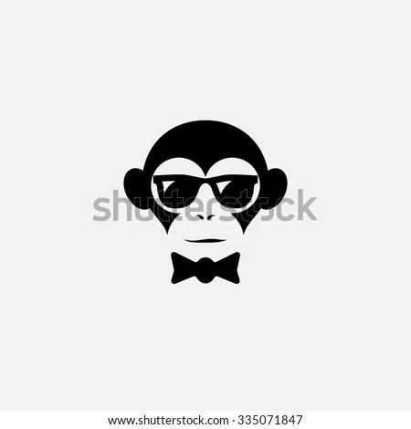 Funny Logo Design Template Monkey Glasses Stock Vector (Royalty Free