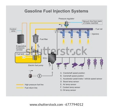 Gasoline Fuel Injection System Introduction Fuel Stock Vector