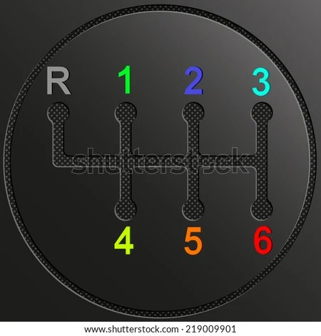Gearshift 6 Car Multicolor Numbers On Stock Vector (Royalty Free