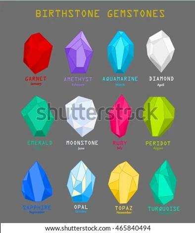 Gems Mineral Crystals Vector Illustration Birthstone Stock Vector