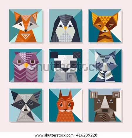 Geometric Animals Set Cute Cards Geometric Stock Vector (Royalty