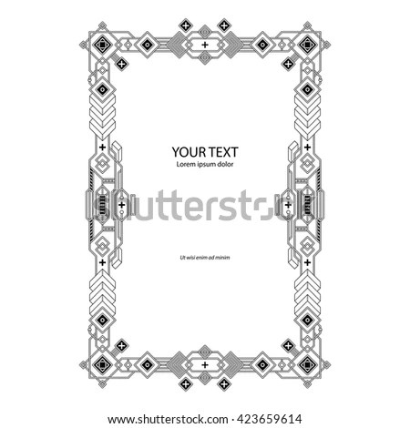 Geometric Border Template On White Background Stock Vector (Royalty