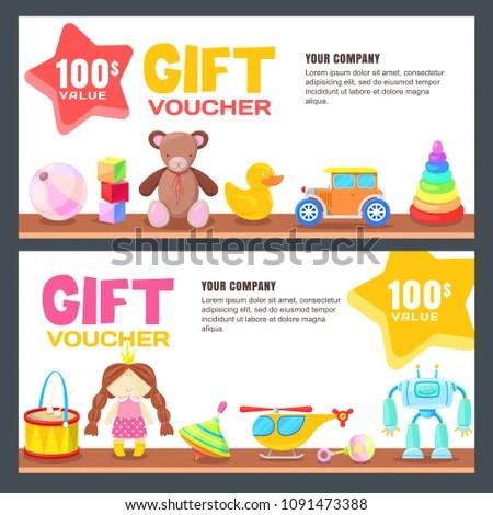 Gift Card Voucher Certificate Coupon Vector Stock Vector (Royalty