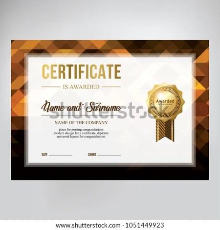 Gift Certificate Design Honorary Diploma Creative Stock Vector