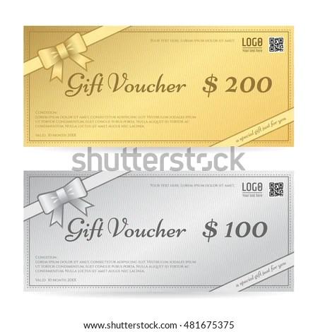 Gift Voucher Gift Certificate Template Ribbon Stock Vector (Royalty