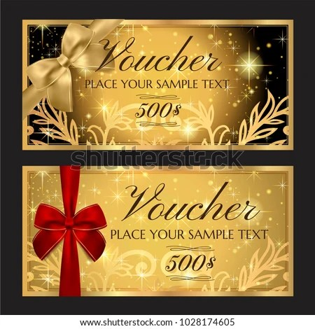 Gift Voucher Template Printable Christmas Gift Stock Vector (Royalty