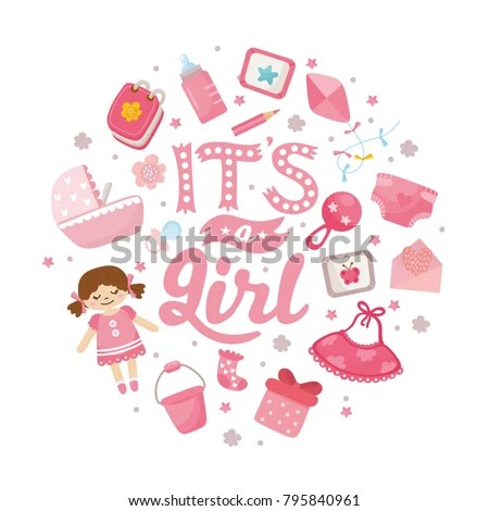 Girl Baby Shower Card Baby Girl Stock Vector (Royalty Free
