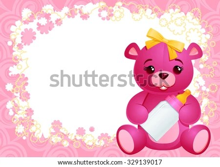 Girl Greeting Card Template Baby Girl Stock Vector (Royalty Free