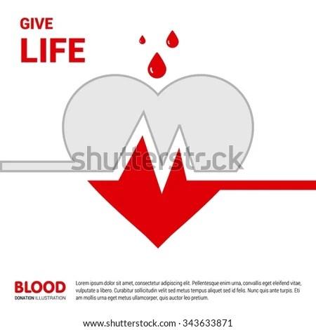 Give Life Big Heart Half Blood Stock Vector (Royalty Free) 343633871